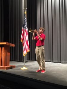 Kevin Koepke plays Taps at Veteran's Day Prayer Service on November 11, 2017